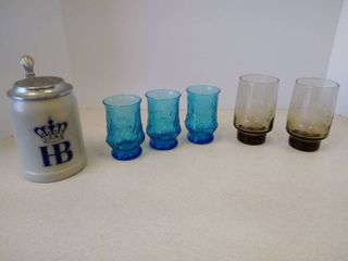 3 blue tumbler glasses  to Pfaltzgraff Amber glasses  Hofbrauhaus Munchen