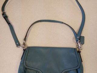 coach teal crossbody soft leather handbag purse
