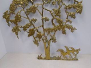 gatco solid brass tree wall hanging with horses