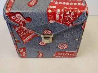 Vintage red kerchief purse   45 record carrier