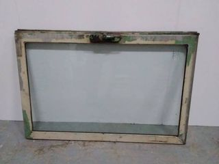 Vintage Railroad Train Window   Safety Glass   Heavy   28 25 inches wide x 19 5 inches tall  frame