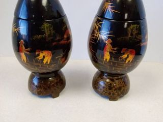 Vintage Egg Shaped Oriental Black lacquer Trinket Boxes made in Vietnam