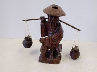 hand carved wood Chinese man sculpture carrying water buckets