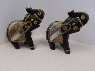 Pair of wood carved elephants  Brass copper metal  wood figurines
