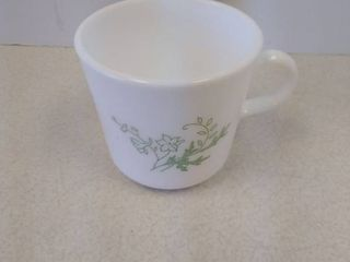 Corning milk glass green floral Spray Mugs
