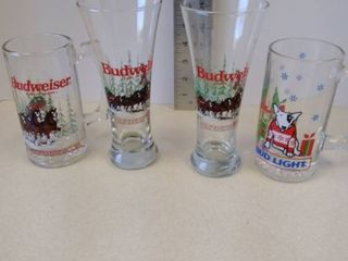 lot of Budweiser Beer Glasses Christmas Holiday Themed