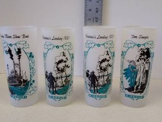 Set of 4 Vintage Frosted Missouri Souvenir Glasses