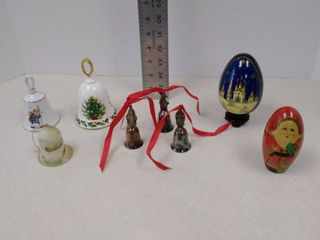 Christmas Bells  wood Santa and black laqured egg