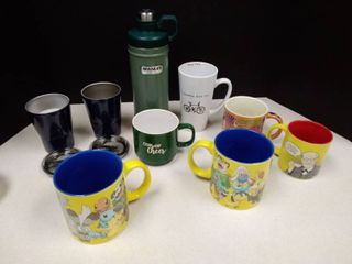 lot of mugs and thermoses