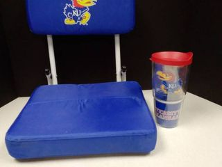 KU stadium seat and Tervis mug