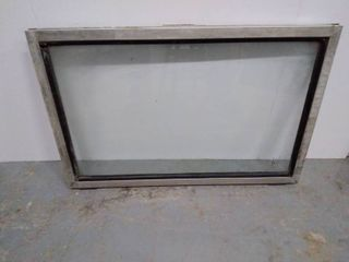 Vintage Railroad Train Window   Safety Glass   Heavy   approximate size 28 25 inches wide x 19 inches tall  frame
