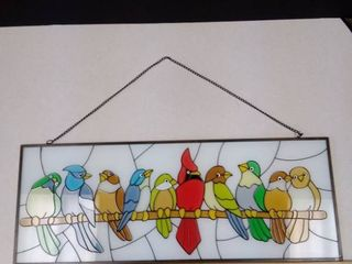 Stained glass birds on a limb hanging decoration