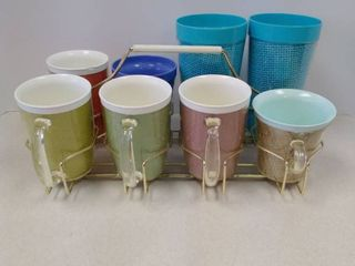 Mid Century Cups and metal rack