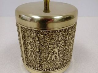 Vintage Repousse Cherub Brass Humidor Tobacco Jar Made in Germany