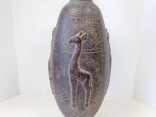 Painted Brown Pottery Vase Giraffe 21 5 inches tall