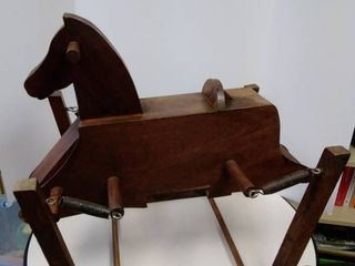Vintage child s wooden rocking horse and red velvet doll Pram