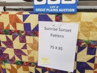 75 x85  Quilt w  Sunrise Sunset Pattern Handmade