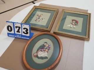 3 Matted  Framed Needle Point Pictures