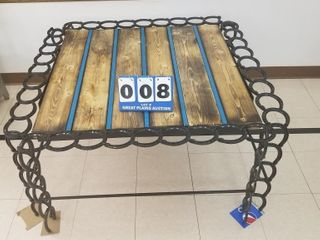 Hand made Horseshoe  Rebar  and Wooden Table