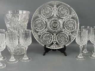 Crystal Wine Glasses  Serving Dish and Vase