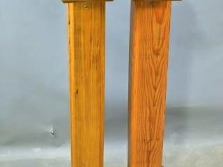 Pair of Oak Topped Pine Pedestals