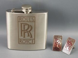 Rolls Royce flask and emblems