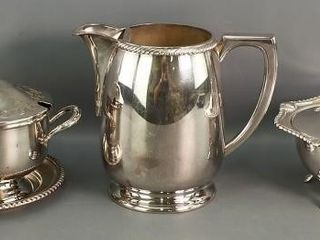 Silver Plate Pitcher and manyaisse Servers