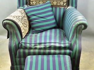 Vintage Wing Back Chair   Victorian Footstool