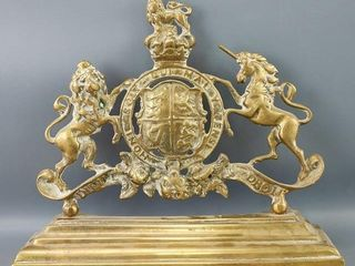 Cast Brass Royal Coat of Arms Fireplace Chenet