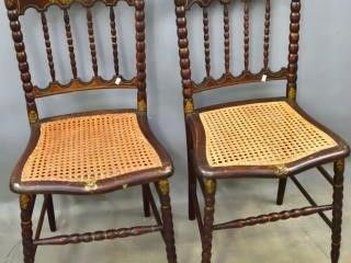 Pair of Faux  Rosewood  Finish Cane Seated Chairs