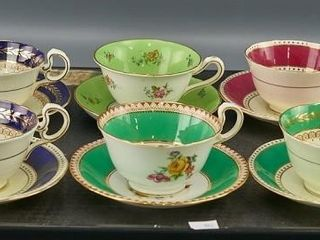 5 Aynsley   1 Grosvenor Cups and Saucers