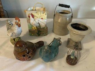 Porceline doll  rooster bird   other figurines