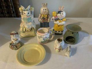 Easter decor  figurines  picture frames  mini tea