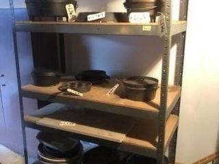 Metal and wooden shop shelf