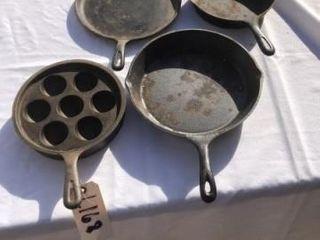 Cast iron egg skillet and misc  skillets