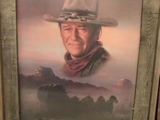 John Wayne framed photo  newspaper clipping