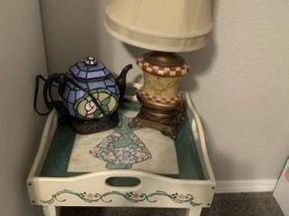 serving table  decorative lamps