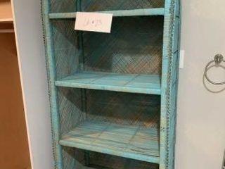 Teal wicker shelf