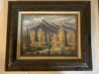 mountain tree picture  framed mirror