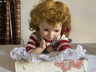 Porcelain doll  crocheted doll beanies stocking