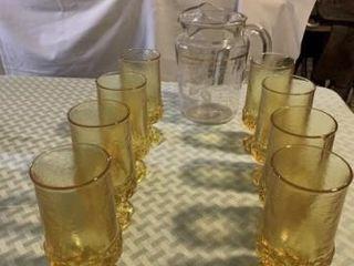 pitcher   glass set  crock bowl  enamel bowl