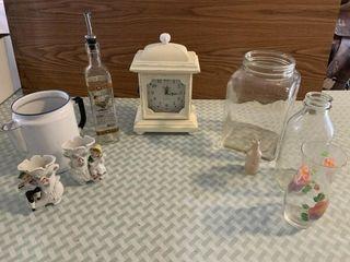 decorative clock  enamel coffee pot