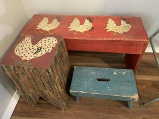 3 benches  incl  rooster