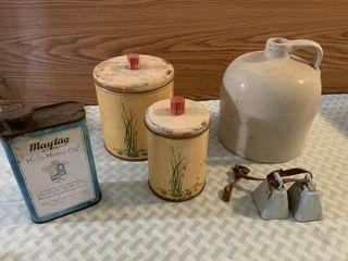Vintage canisters  Maytag Oil tin  crock jar