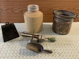 cow bell  vintage mixer  crock jar
