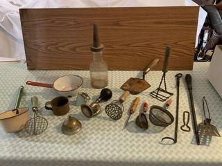 Vintage horn  cow bell  vintage kitchen utensils