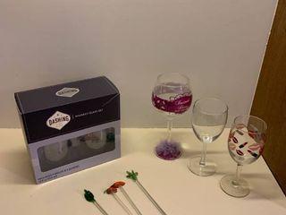 Whiskey glass set  three wine glasses and wine stirrers