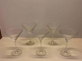 Five martini glasses