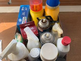 Assorted cleaning and laundry supplies