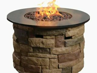 Composite Fire Table w  lava Rocks